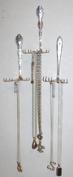 Upcycled Antique Fork Necklace Organizers...Silverware upcycled for jewelery...ring and necklace holder...Antique wall hanging necklace