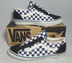 30f6596901c5 Vintage Vans OLD SKOOL NAVY CHECKERS made USA Men s Size 11.5 NOS SK8 HI  BMX Vans