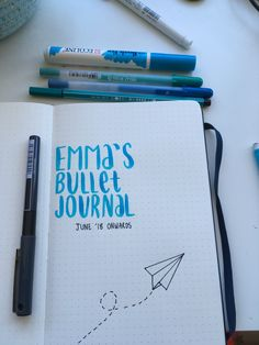 bullet journal first page blue paper airplane!!!