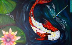 Easy Koi pond painting with Waterlilies and dragonflies in acrylic on Canvas. Full Beginner painting tutorial guided in real time. This is a painting for fir...