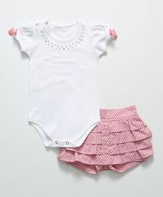 Conjunto Baby de 2 pçs Branco e Rosa                                                                                                                                                                                 Mais