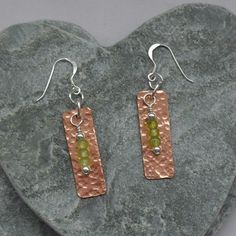Sterling Silver and Copper Bar Earrings With Peridot Semi Precious Gemstones Bar Earrings, Gemstone Earrings, Sterling Silver Earrings, Copper Bar, Small Gift Boxes, Head Pins, Copper Jewelry, Semi Precious Gemstones, Peridot