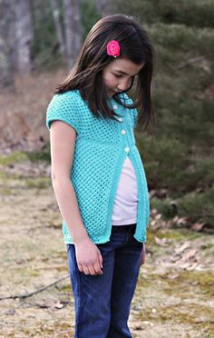 Free Knitting Pattern - Girl's Clothes: Sugar Short-Sleeve Sweater ~ so cute, will need to make for my grand daughters!