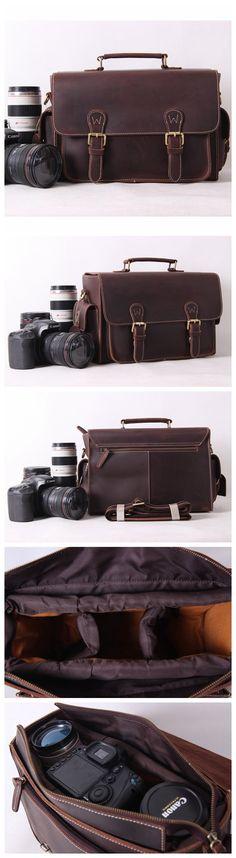 Vintage Genuine Leather DSLR Camera Bag SLR Camera Bag Briefcase Leather Camera Bag 6919