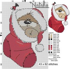 Fizzy Moon Bear - Christmas - Free Patterns Enjoy these free Christmas themed patterns featuring Fizzy Moon Bear. Most of them have color . Xmas Cross Stitch, Cross Stitch Cards, Cross Stitching, Cross Stitch Embroidery, Embroidery Patterns, Hand Embroidery, Cross Stitch Designs, Cross Stitch Patterns, Fizzy Moon
