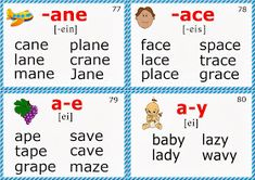 phonics flashcards for esl long a sound words Phonics Chart, Phonics Flashcards, Phonics Rules, Phonics Worksheets, Phonics Reading, Teaching Phonics, Teaching Reading, Teaching Vocabulary, English Language Learning
