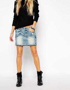 G-Star | G Star Raw Edge Denim Skirt at ASOS