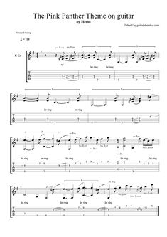 The Pink Panther theme TAB - fingerstyle guitar tab (PDF + Guitar Pro) Guitar Tabs Acoustic, Guitar Tabs Songs, Music Theory Guitar, Easy Guitar Songs, Music Tabs, Music Chords, Music Guitar, Playing Guitar, Ukulele