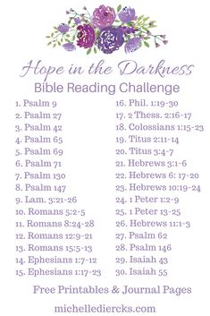 Hope in the darkness - Michelle Diercks Hope Bible Reading challenge and plan, Bible Readings, Christian Women's Devotionals, Free printable and journal page, Bible Study Plans, Bible Study Notebook, Bible Plan, Bible Study Tips, Bible Study Journal, Bible Lessons, Bible Reading Plans, Bible Journaling For Beginners, Devotional Journal