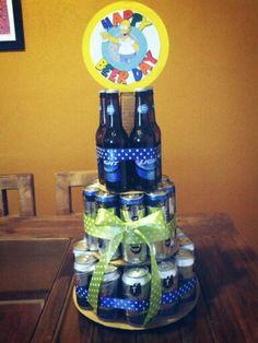 Happy beerday. Beer cake. Pastel de cervezas.