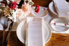 PLACE SETTINGS: simple, easy, pops of color from flowers, tea lights provide more soft lighting
