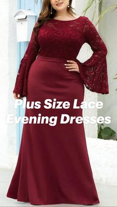 Plus Size Maxi, Plus Size Dresses, Lace Evening Dresses, Prom Dresses, Maroon Bridesmaid Dresses, Formal Dresses With Sleeves, Plus Size Fashion, Women's Fashion, Party