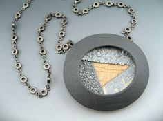 Lunar series. Contemporary polymer clay pedant necklace by Stonehouse Studio