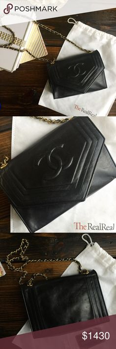 Spotted while shopping on Poshmark: Chanel black flap bag with chain! #poshmark #fashion #shopping #style #Chanel #Handbags