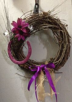 Western wreath Burlap and Horse Shoes with Wine Grape Vines Rustic Western Country Home Decor  on Etsy, $18.00