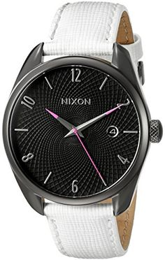 Women's Wrist Watches - Nixon Womens A473486 Bullet Leather Analog Display Japanese Quartz White Watch *** Be sure to check out this awesome product.