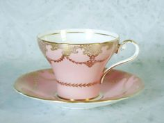 Antique Pink Teacup and Saucer, Vintage Aynsley Corset Shape Tea Cup and Saucer on Etsy, 34,91€