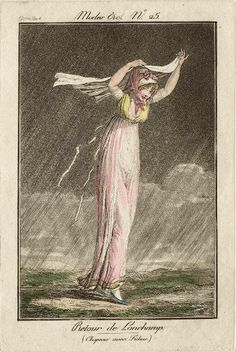 Walking in the rain in in appropriately thin clothes! Modes et Manières du Jour no. 25 by Debucourt
