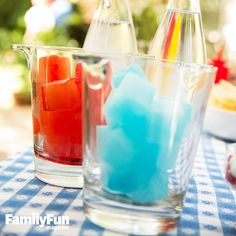 Red, White & Cool Cubes: Tricolored spritzers offer a refreshing way to celebrate the Fourth. Make several trays of ice cubes with beverages colored red, white, and blue, then serve with plain seltzer.