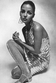 "the60sbazaar: ""Donna Mitchell modelling metallic fashion """