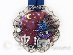 Goth Fairy Pendant, Dark Fantasy Art, Original Wearable Art Jewelry, Hand Sculpted Cameo, Fantasy Jewelry, Halloween Jewelry, Fairy Jewelry