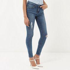 Mid wash distressed Amelie superskinny jeans - jeans - sale - women