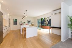 modern white kitchen by KMD Kitchens Auckland Kitchen Makeovers, Kitchen Renovations, Beautiful Kitchens, Auckland, New Kitchen, Modern, Table, Furniture, Home Decor