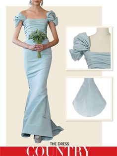 Oscar de la Renta ice silk faille draped shoulder trumpet gown from Vogue Wedding Guide