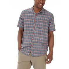 Our lightweight River Rock Short-Sleeve shirt showcases a bold plaid pattern and reliable warm-weather performance features. You'll look great and feel in gear while navigating a boulder field or casting a line despite any midsummer heat. The River Rock dries quickly, sheds wrinkles, and has UPF 50+ protection.