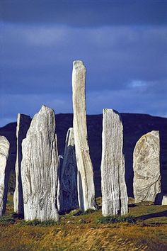 Callanish stones, Isle of Lewis, Scotland. Within the central circle is a burial chamber, which excavations have shown were added a few generations after the stones. Its entrance passage is oriented east and marked by an exceptionally tall stone of 4.75m high within the circle.