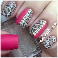 Matte Leopard Studded Nails