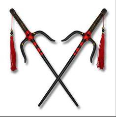 Black Sai with red design Sai Weapon, Cosplay Sword, Armas Ninja, Martial Arts Weapons, Teenage Ninja Turtles, Shadow Warrior, Weapon Concept Art, Fantasy Weapons, Knives And Swords