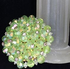 Faceted Peridot Green Bead Pin Aurora Borealis Plastic Beads Crystal Rhinestone Topped Brooch 318s