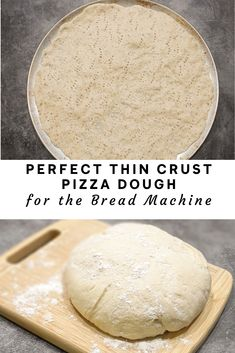 This Bread Machine Thin Crust Pizza Dough is a perfect crispy thin crust that is still chewy underneath the toppings! Throw all ingredients in the bread machine and let it do the work for you. Ready to cook in 90 minutes. Pizza Dough Bread Machine, Easy Bread Machine Recipes, Best Pizza Dough, Bread Maker Recipes, Dough Machine, Pizza Dough Thin Crust, Bread Machine Rolls, Pizza Recipes, Deep Dish