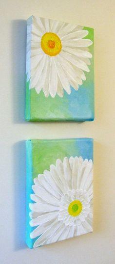 Original Painting, WHITE DAISY Set, Two 5x7 Acrylic Canvas, Home Decor, Floral. $60.00, via Etsy.