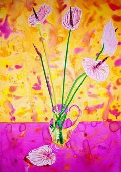 Flores en la jarra. Técnica mixta sobre papel. 100x70 cm DISPONIBLE WATERCOLOR, FLOWERS, ART, PAINTING