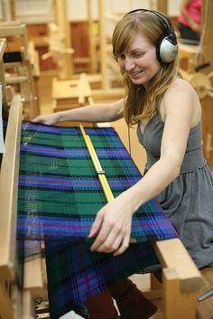 Scottish Tartan    Host Sarah weaving a Scottish tartan in Melissa Weaver Dunning's class during Scottish Heritage Week 2008