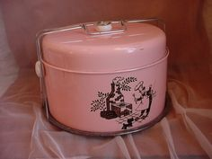 Vintage 1950's Pink Double Layer Cake Pie Cookie Carrier Chef with Scottie Dog