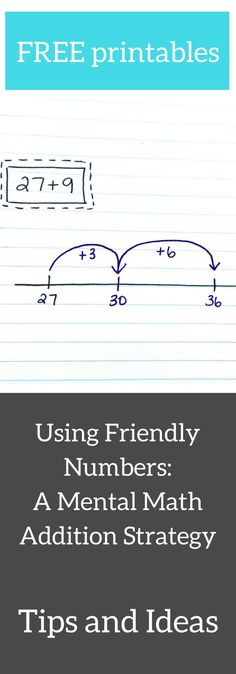 "A friendly number is a number that is easy to work with. For example, multiples of 10 are ""friendly"" because they are easy to work with when we add or subtract. When we use the ""friendly number"" strategy for addition, it helps us work with big numbers. This is because we are essentially breaking the equation up into more manageable parts. Get tips, ideas, and free printables for the friendly number addition strategy here."