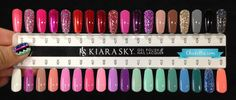 Kiara Sky is a new two-step gel polish from the makers of INK gel polish. Kiara Sky colorbase has the base and color mixed into one bottle. Dip Nail Colors, Sns Nails Colors, Gel Polish Colors, Gel Color, Kiara Sky Gel Polish, Glitter Gel Polish, Nail Polish, Gel Nail, Sky Nails