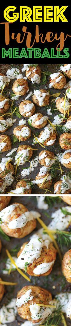Greek Turkey Meatballs - Everyone's favorite meatballs made healthier! So moist, so tender and so easy to make, drizzled with Greek yogurt tzatziki sauce!