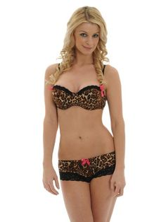 5e9344c5c0871 Push Up Bra with Cheeky Panty Leopard Animal Print 2 Piece Set Jr A B or C