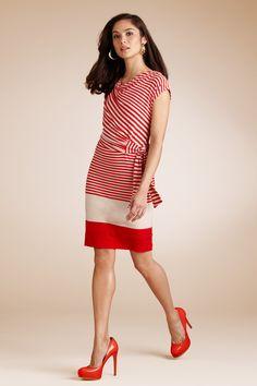 Side-tie Striped Dress