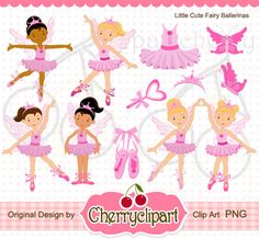 Little Cute Fairy Ballerina Digital Clipart Set for-Personal and Commercial Use-paper crafts,card making,scrapbooking,and web design. $5.00, via Etsy.