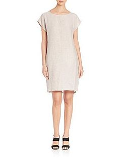 Eileen Fisher Terry Slubby Organic Linen Dress - Soft White - Size