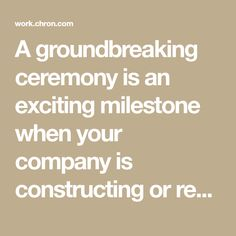 A groundbreaking ceremony is an exciting milestone when your company is constructing or remodeling a building. This event can provide additional publicity and give community leaders a timeline for your project and a chance to learn about the new facility. Keep the ceremony short and to the point to keep the guests ... Timeline, Remodeling, Community, Construction, How To Plan, Learning, Building, Projects, Log Projects