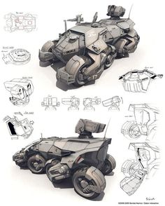 Futuristic six wheeled military rocket launcher, air defense lightweight truck vehicle, concept art transportation design sketch, illustration for concept artist Cyberpunk, Futuristic Cars, Futuristic Vehicles, Mechanical Design, 3d Prints, Armored Vehicles, Armored Car, Sci Fi Art, Illustrations