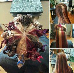 Very beautiful pinwheel hair color. Idea from the web.