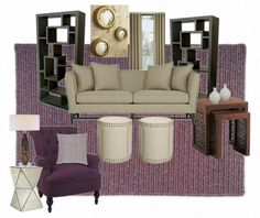 Furnishings using a color scheme of different tones of plum/purple and champagne grounded with darker wood case good pieces with a  little bling added via a mirrored table, nail head accents and mirrors.