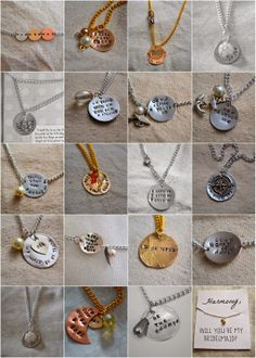 Best hand stamped necklaces with quotes, lyrics, sayings. Great for grandmothers, announcing a new baby, great for mother's day, great for graduation, great for traveling, gifts, sisters, best friends, spouses, long distance lovers, college students, brides and bridesmaids, children.  Frozen: let it go necklace & other lyric Custom necklaces Uplifting necklaces LDS young womens, primary, relief society, sisters necklaces: forget me not #ldsconf A Few Paces Write: Hand-Stamped Necklaces